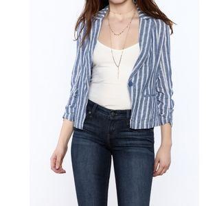 Love Tree Linen Blend Stripe Jacket